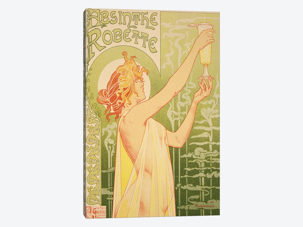 Reproduction of a poster advertising 'Robette Absinthe', 1896  by Henri Privat-Livemont 1-piece Canvas Art Print