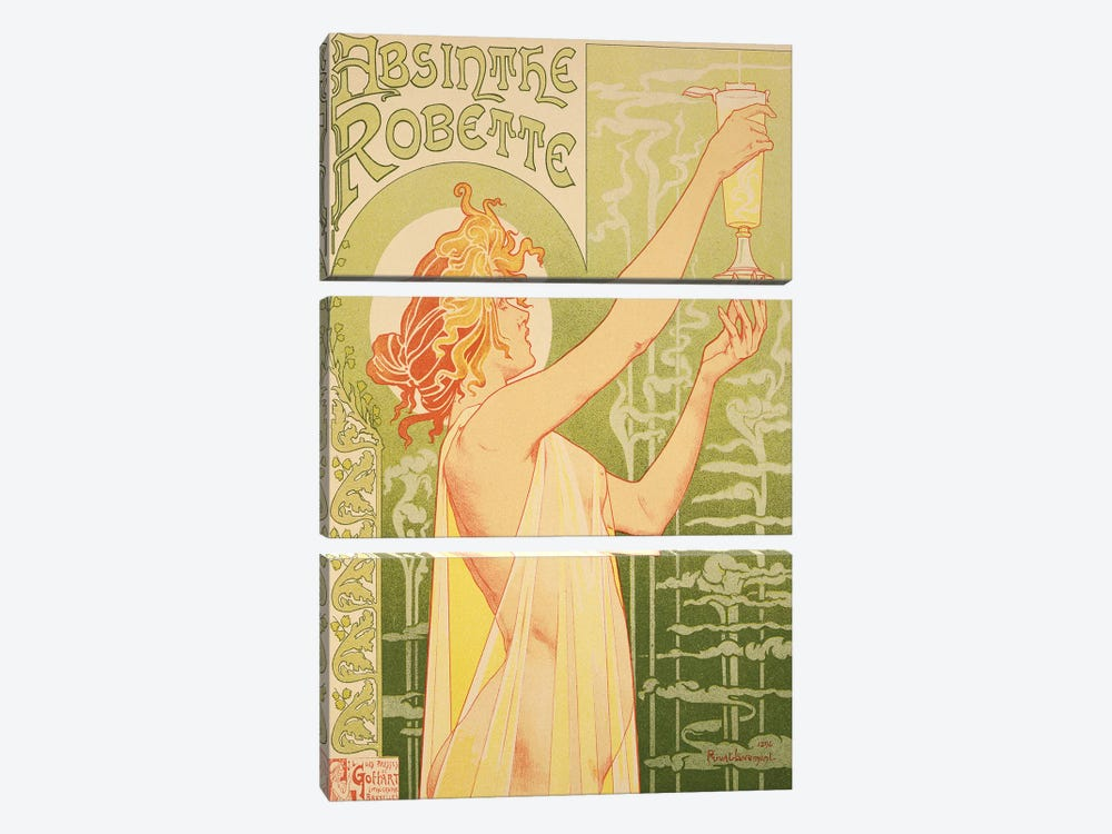 Reproduction of a poster advertising 'Robette Absinthe', 1896  by Henri Privat-Livemont 3-piece Canvas Print