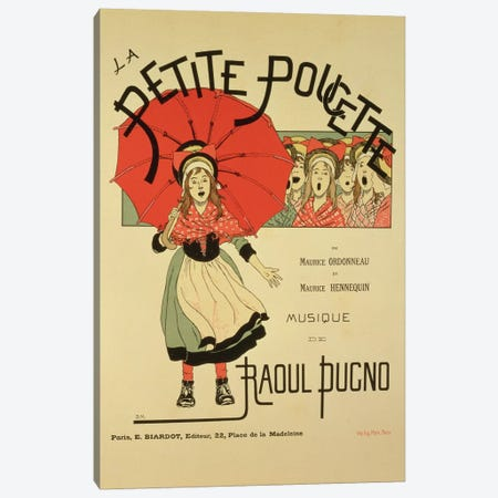 Reproduction of a poster advertising the operetta 'La Petite Poucette', 1891  Canvas Print #BMN1862} by Louis Maurice Boutet de Monvel Canvas Artwork