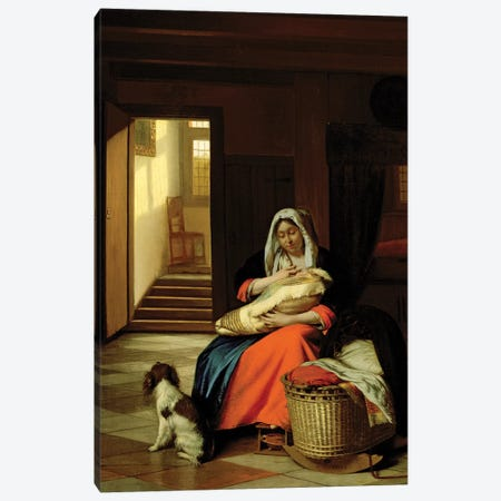 Mother Nursing Her Child, 1674-76  Canvas Print #BMN1866} by Pieter de Hooch Art Print