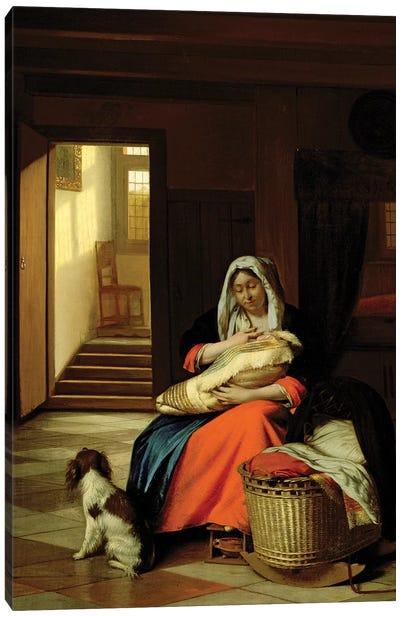 Mother Nursing Her Child, 1674-76  Canvas Art Print