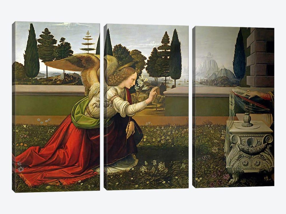 Angel Gabriel, from the Annunciation, 1472-75   by Leonardo da Vinci 3-piece Art Print