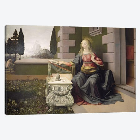 Virgin Mary, from the Annunciation, 1472-75   Canvas Print #BMN1870} by Leonardo da Vinci Canvas Art Print