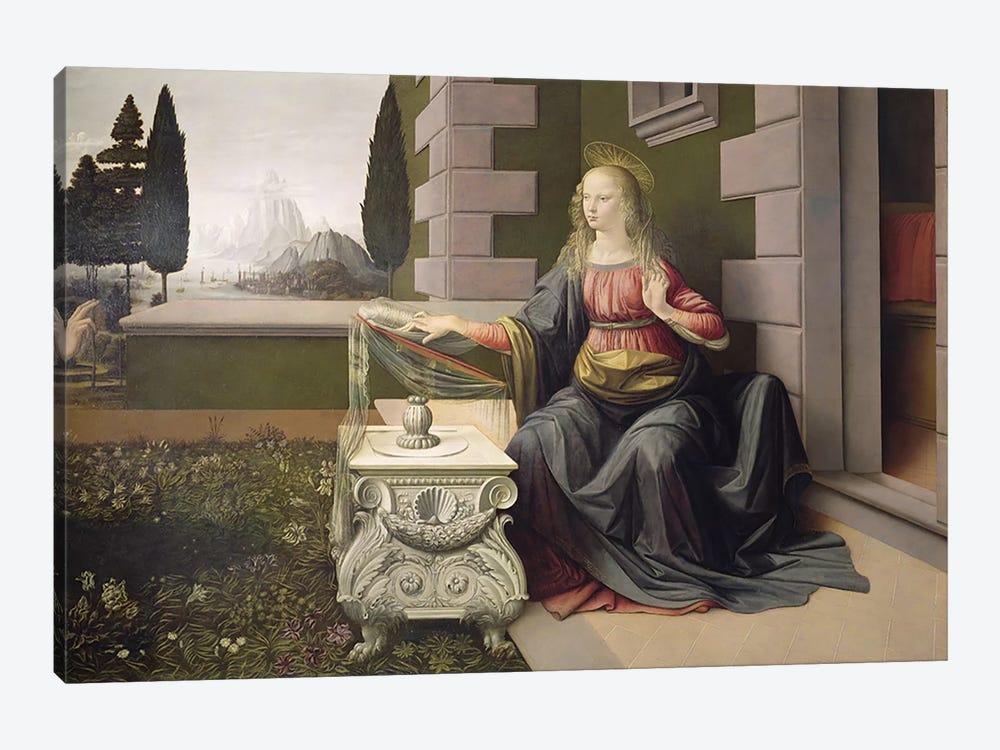Virgin Mary, from the Annunciation, 1472-75   by Leonardo da Vinci 1-piece Canvas Print