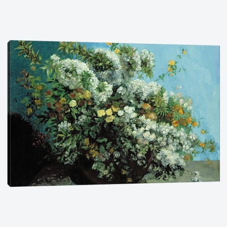 Flowering Branches and Flowers, 1855  Canvas Print #BMN1873} by Gustave Courbet Art Print