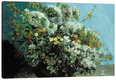 Flowering Branches and Flowers, 1855  Canvas Art Print