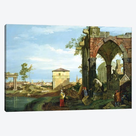 Capriccio with Motifs from Padua, c.1756   Canvas Print #BMN1875} by Canaletto Canvas Art