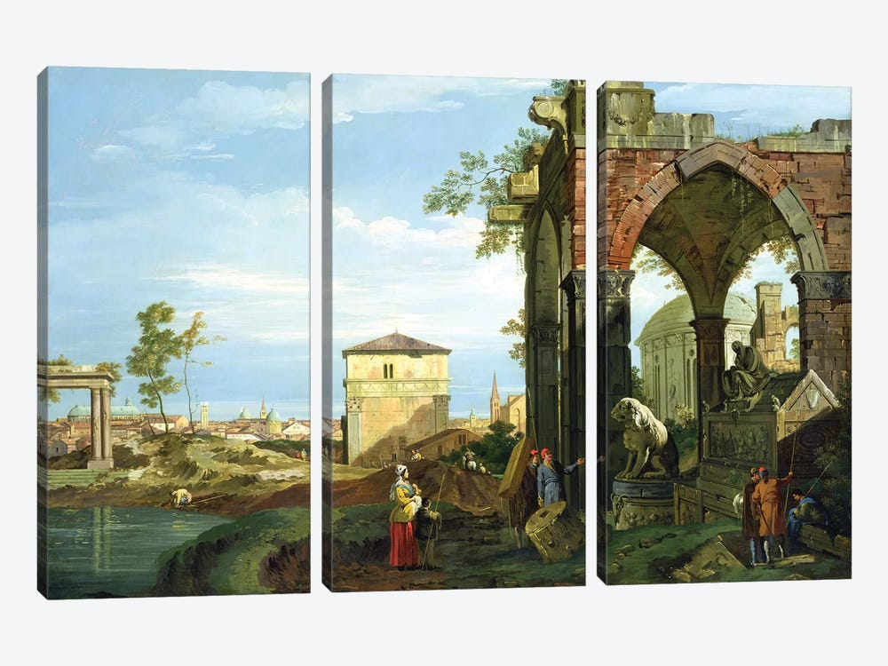 Capriccio with Motifs from Padua, c.1756   by Canaletto 3-piece Canvas Artwork