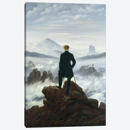 The Wanderer above the Sea of Fog, 1818  Canvas Print #BMN1877} by Caspar David Friedrich Canvas Wall Art
