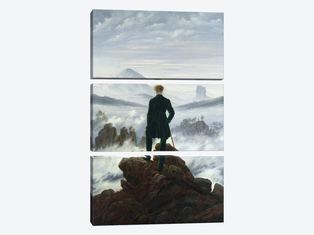 The Wanderer above the Sea of Fog, 1818  by Caspar David Friedrich 3-piece Canvas Artwork