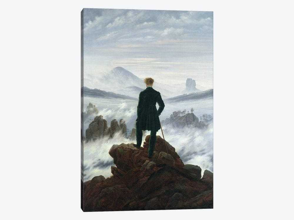 The Wanderer above the Sea of Fog, 1818  by Caspar David Friedrich 1-piece Canvas Wall Art