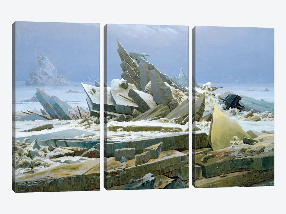 The Polar Sea, 1824  by Caspar David Friedrich 3-piece Canvas Print
