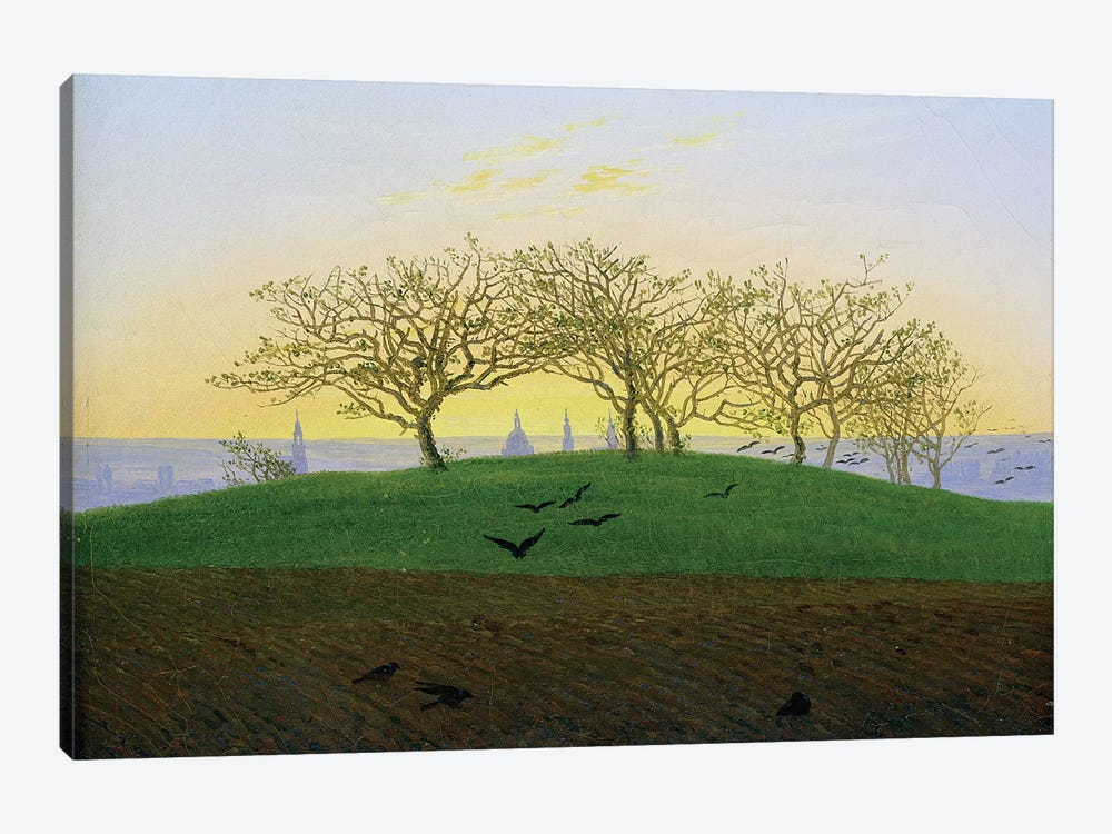 Hills and Ploughed Fields near Dresden  by Caspar David Friedrich 1-piece Canvas Print