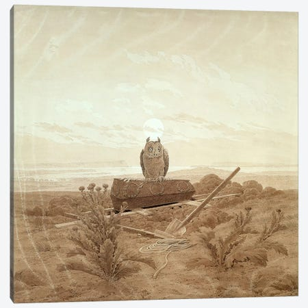 Landscape with Grave, Coffin and Owl  Canvas Print #BMN1886} by Caspar David Friedrich Art Print