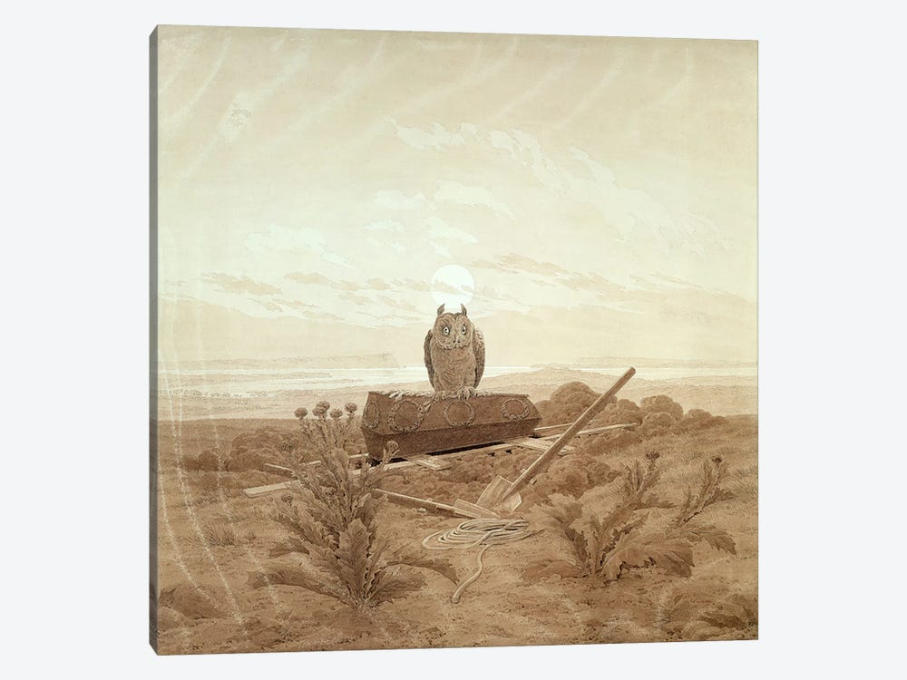 Landscape with Grave, Coffin and Owl by Caspar David Friedrich 1-piece Canvas Wall Art