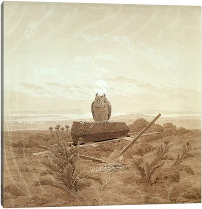 Landscape with Grave, Coffin and Owl  Canvas Art Print