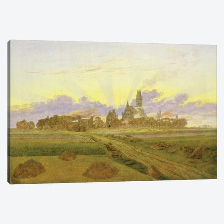 Dawn at Neubrandenburg  Canvas Print #BMN1888} by Caspar David Friedrich Canvas Artwork