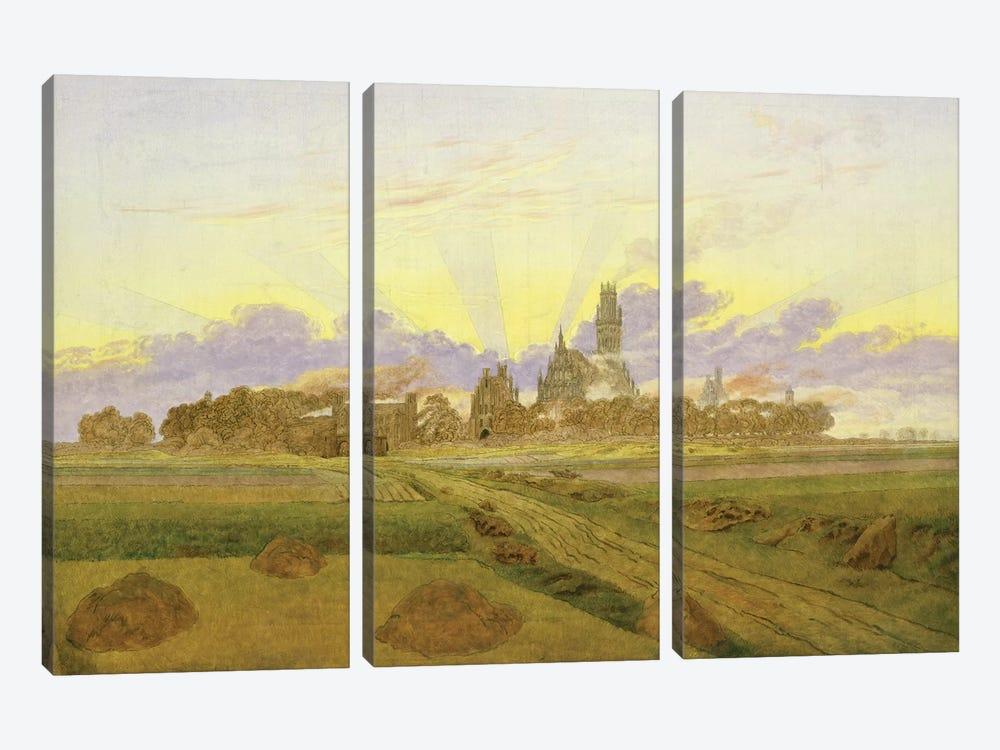 Dawn at Neubrandenburg  by Caspar David Friedrich 3-piece Canvas Art