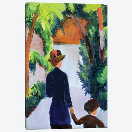 Mother and Child in the Park, 1914  Canvas Print #BMN1893} by August Macke Art Print