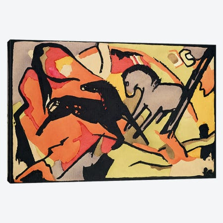 Two Horses, 1911/12  Canvas Print #BMN1895} by Franz Marc Canvas Wall Art