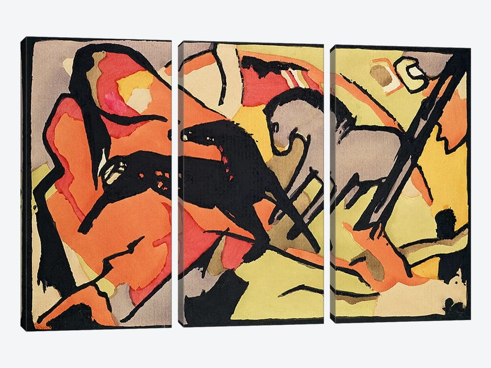 Two Horses, 1911/12  by Franz Marc 3-piece Canvas Art