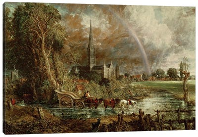Salisbury Cathedral From the Meadows, 1831   Canvas Art Print