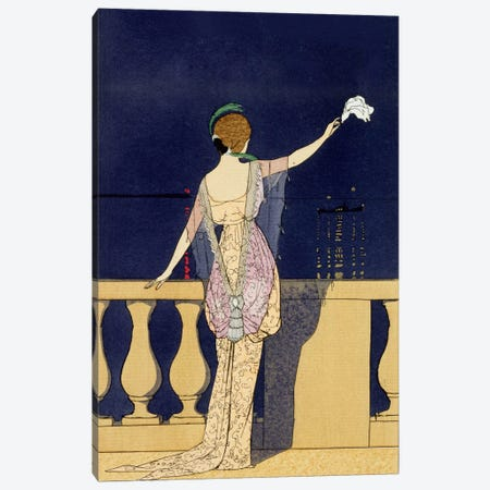 Farewell at Night, design for an evening dress by Paquin (colour litho) Canvas Print #BMN18} by George Barbier Art Print