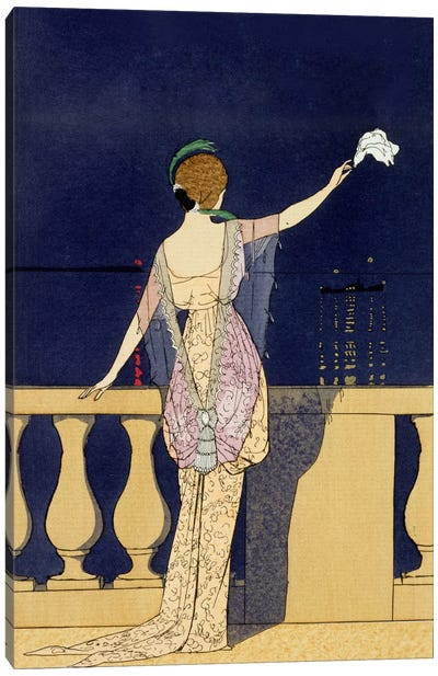 Farewell at Night, design for an evening dress by Paquin (colour litho) Canvas Art Print