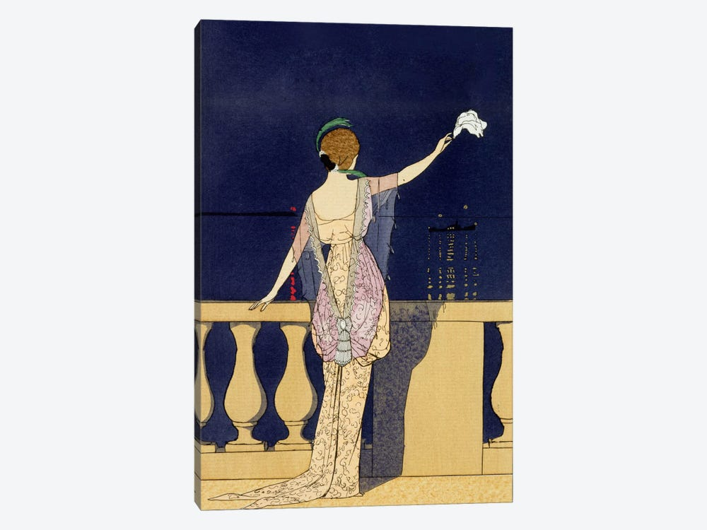 Farewell at Night, design for an evening dress by Paquin (colour litho) by George Barbier 1-piece Canvas Print