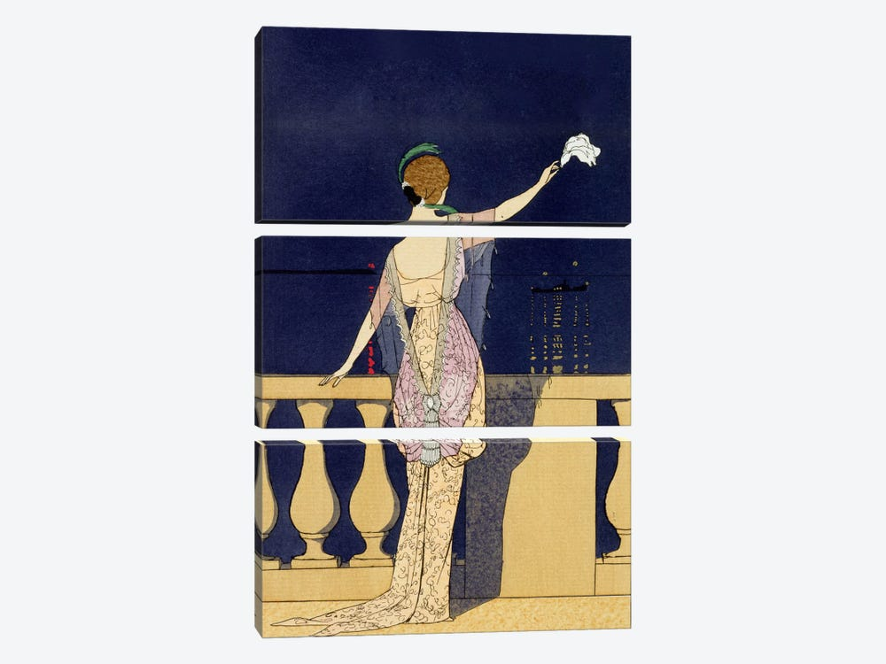 Farewell at Night, design for an evening dress by Paquin (colour litho) by Georges Barbier 3-piece Canvas Art Print