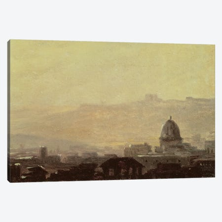 Houses Dominated by a Dome, Rome  Canvas Print #BMN1904} by Pierre Henri de Valenciennes Canvas Artwork