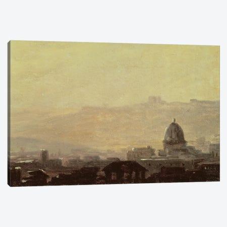 Houses Dominated by a Dome, Rome  Canvas Print #BMN1904} by Pierre Henri de Valenciennes Canvas Artwork