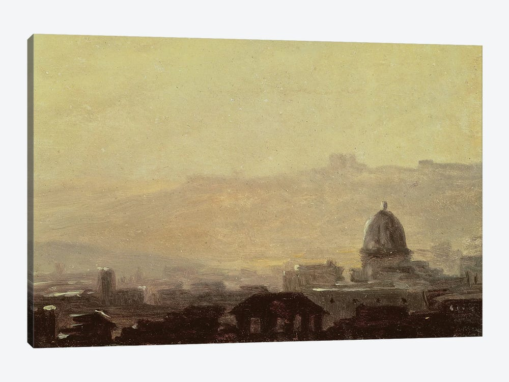 Houses Dominated by a Dome, Rome  by Pierre Henri de Valenciennes 1-piece Canvas Art Print