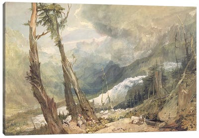 Mere de Glace, in the Valley of Chamouni, Switzerland, 1803  Canvas Art Print