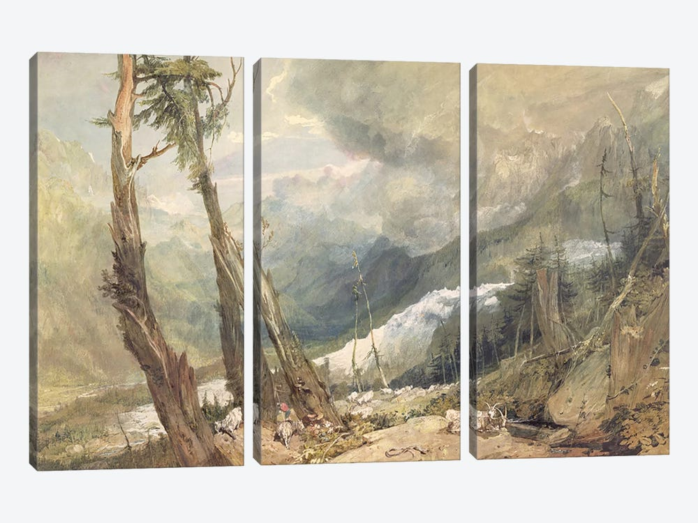 Mere de Glace, in the Valley of Chamouni, Switzerland, 1803  by J.M.W. Turner 3-piece Art Print