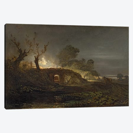 A Lime Kiln at Coalbrookdale, c.1797  Canvas Print #BMN1907} by J.M.W. Turner Canvas Artwork