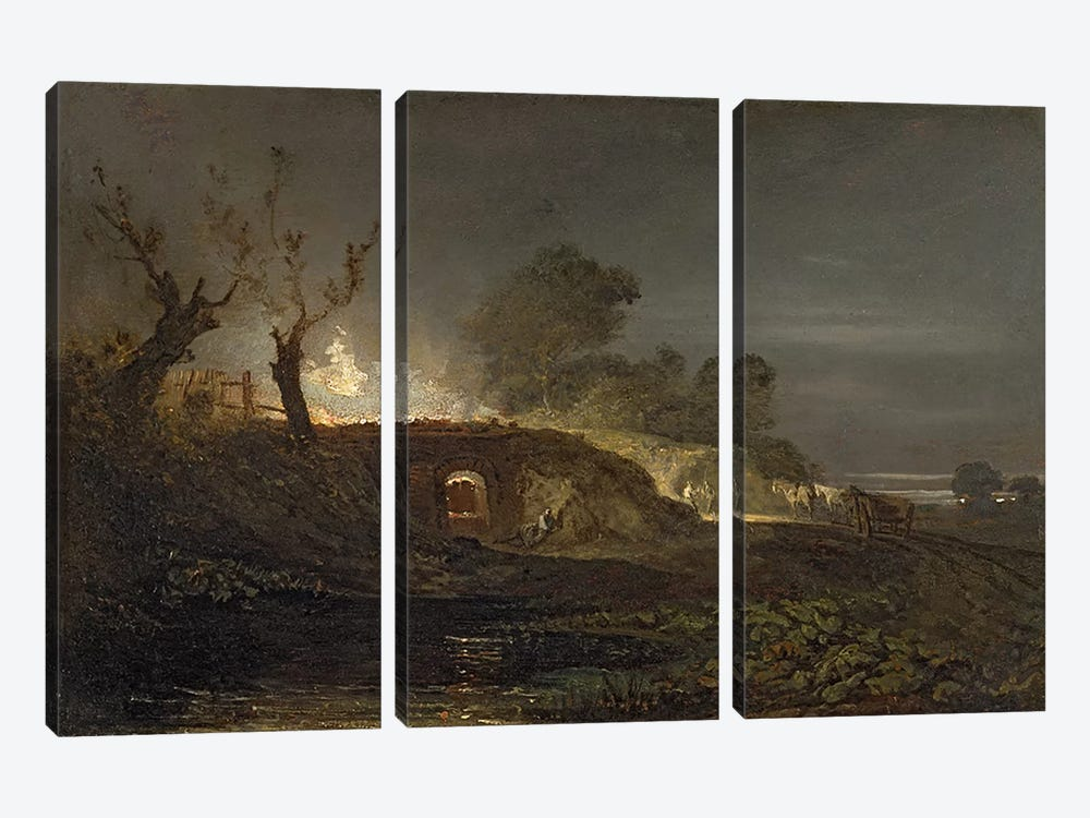 A Lime Kiln at Coalbrookdale, c.1797  by J.M.W. Turner 3-piece Canvas Wall Art