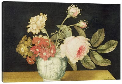 Flowers in a Delft Jar  Canvas Art Print