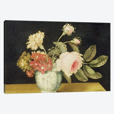 Flowers in a Delft Jar  Canvas Print #BMN1908} by Alexander Marshal Canvas Art Print