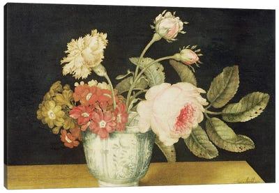 Flowers in a Delft Jar  Canvas Art Print
