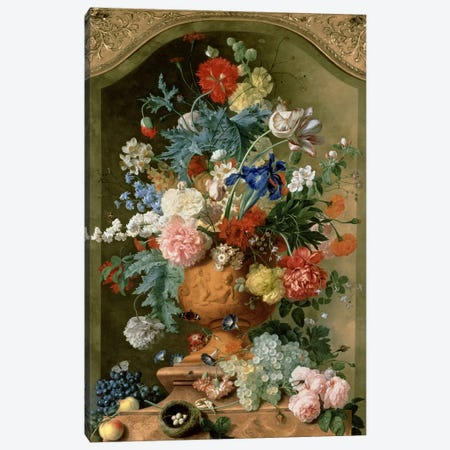 Flowers in a Terracotta Vase, 1736  Canvas Print #BMN190} by Jan van Huysum Canvas Wall Art