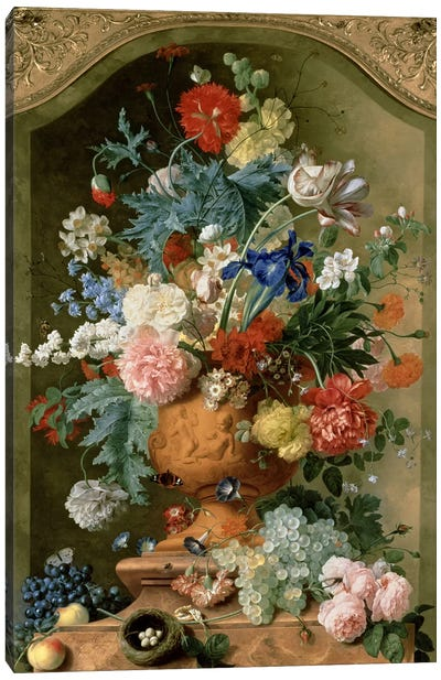 Flowers in a Terracotta Vase, 1736  Canvas Art Print