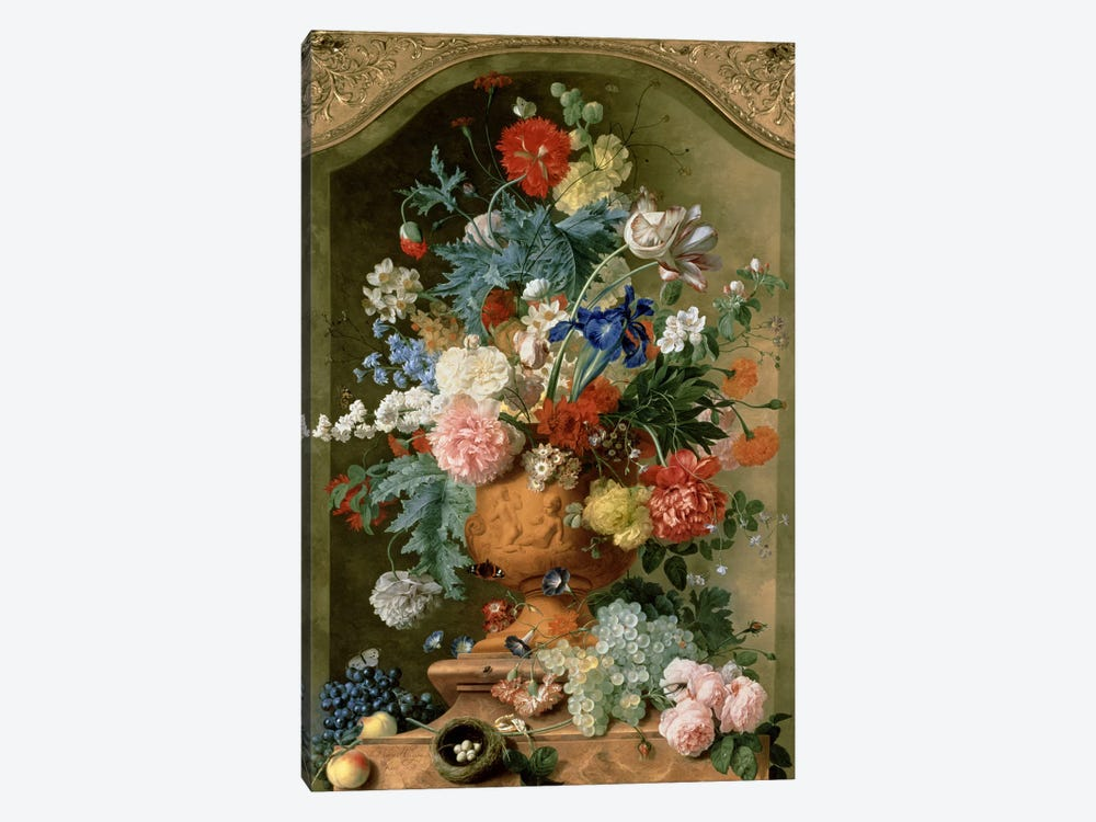 Flowers in a Terracotta Vase, 1736  by Jan van Huysum 1-piece Canvas Art Print