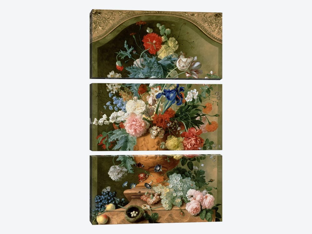 Flowers in a Terracotta Vase, 1736  by Jan van Huysum 3-piece Canvas Print