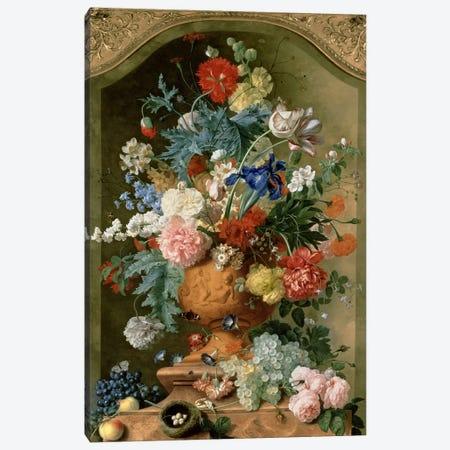 Flowers in a Terracotta Vase, 1736  Canvas Print #BMN190} by Jan van Huysum Canvas Wall Art