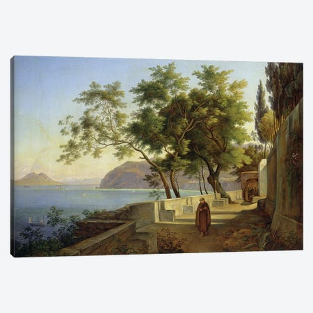 The Terrace of the Capucins in Sorrento, 1828  Canvas Print #BMN1910} by Joachim Faber Canvas Artwork