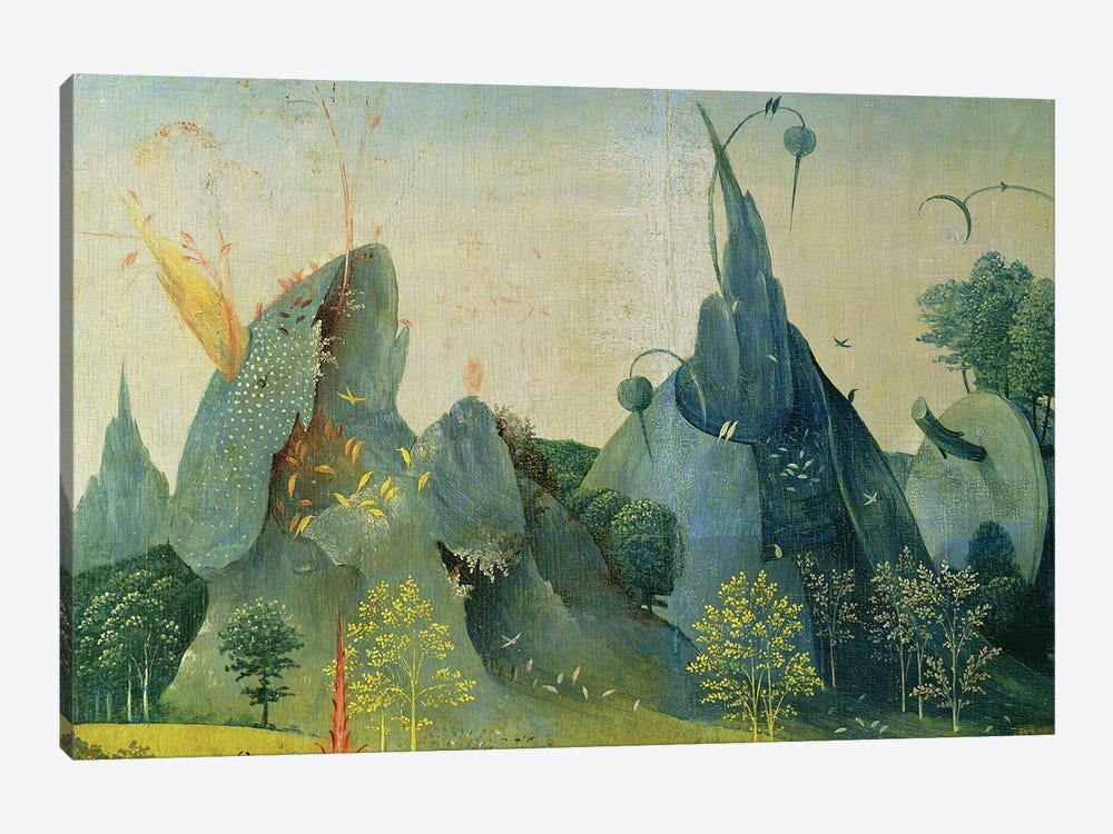 The Garden of Eden, detail from the right panel of The Garden of Earthly Delights, c.1500   by Hieronymus Bosch 1-piece Art Print