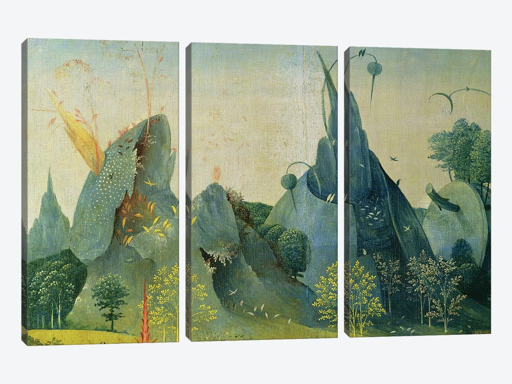 The Garden of Eden, detail from the right panel of The Garden of Earthly Delights, c.1500   by Hieronymus Bosch 3-piece Art Print