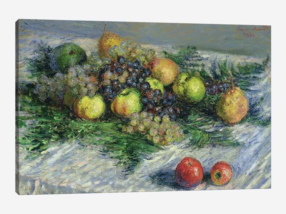 Still Life with Pears and Grapes, 1880  by Claude Monet 1-piece Canvas Art Print