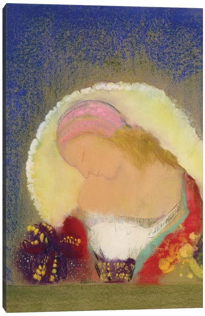 Profile of a Girl with Flowers, c.1900  Canvas Art Print